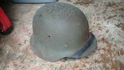 German WW2 M42 Helmet With Original Leather Liner And Chin Strap