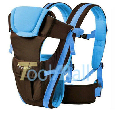 4 Position - Newborn Baby Carrier Sling Wrap Backpack Front Blue Chest Ergonomic