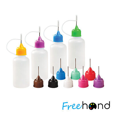 Precision Tip Applicator Bottles - 4 bottles and 12 Tips - DIY Quilling, Oils