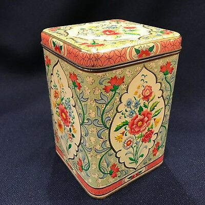 """L 7.5"""" VINTAGE DAHER TIN CANISTER PINK GREEN FLORAL ENGLAND HINGED LIFT Lid tall"""