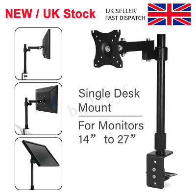 "13-27"" Computer Monitor Stand Extendable Singe Arm Desk Mount Bracket LCD Screen"