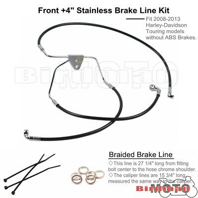 """Black Front +4"""" Stainless Braided Brake Line Kit For 08-13 Harley Touring NO ABS"""