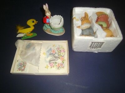 Lot of Vintage Easter Items Homco Rabbits  Lefton Bunny  Beistle Duck   hankie