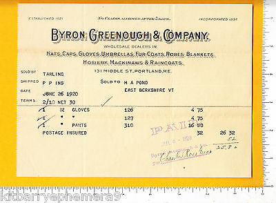 6811 Byron Greenough umbrella, Mackinaw, hosiery, fur 1920 billhead Portland, ME