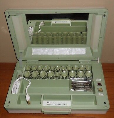 Vintage SAMSON-Dominion ELECTRIC Hot ROLLERS Green Vanity CASE Hairsetter~CLIPS