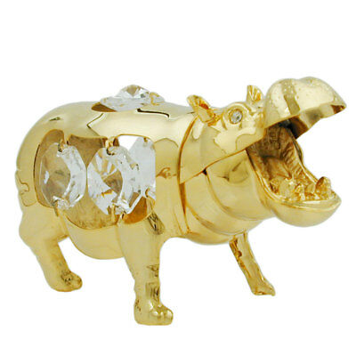 1 Lot of hippopotamus with crystal elements gold plated