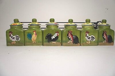 Decorative spice jars with chicken motif and rack