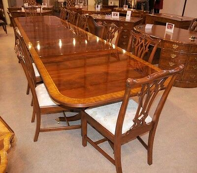 Mahogany Dining Table - Extending Regency Pedestal Tables 16 Feet Long
