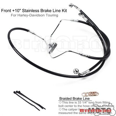 """Black Front +10"""" Braided Steel Brake Line Kit For 2008-13 Harley Touring No ABS"""