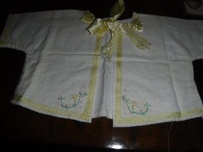 Vintage Yellow Flannel Baby Top ~ Short Sleeve ~ Colorful Embroidery