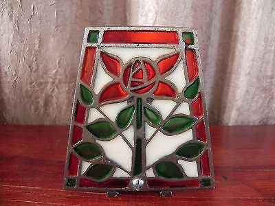 Vintage Cast Iron Stained Glass Rose Candle Candlestick Holder Red Green White