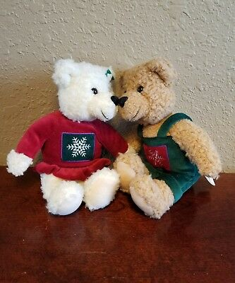 Vintage Hallmark Kissing Plush Christmas Bears Magnetic Noes and Velcroed Hands