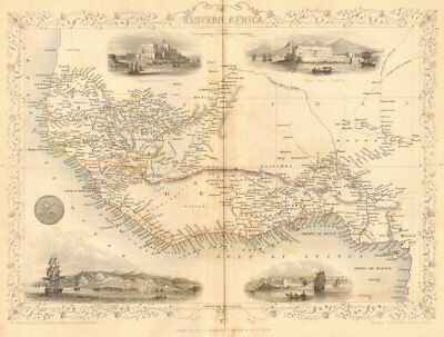 WESTERN AFRICA.Kong Mountains.Caravan routes.Slave Coast.TALLIS/RAPKIN 1849 map
