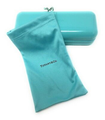 New Authentic TIFFANY & CO Blue Eyeglasses Small Sun ClamShell Storage Case