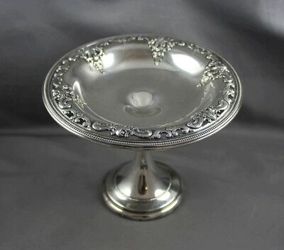 Wallace Sterling Silver Grande Baroque Medium Compote w/Beaded Bowl 4850-9