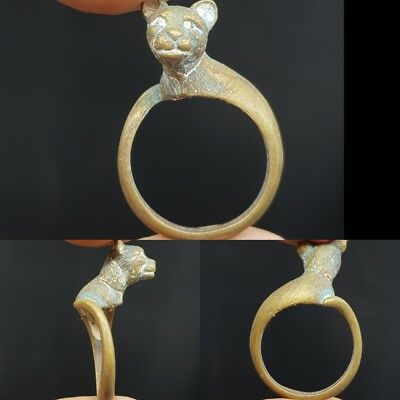 Medieval Old Unique Brass Ring With Lovely CAT Face # 7K