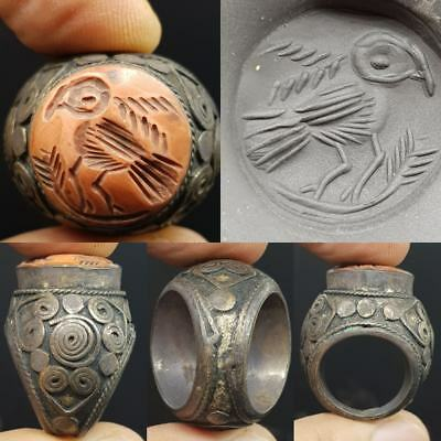 Medieval Old Coral intaglio Wonderful seal Stone Lovely Ring  # 7K