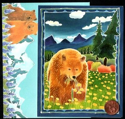 Grizzly Bear Flowers Mountains River Sky - SMALL Blank Greeting Note Card - NEW