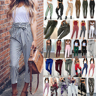 Women's Ladies High Waist Pencil Pants Casual Loose Fit Stretchy Work Trousers
