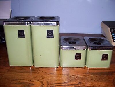 Vintage 4 Piece Canister Set Retro Green.. Nice!