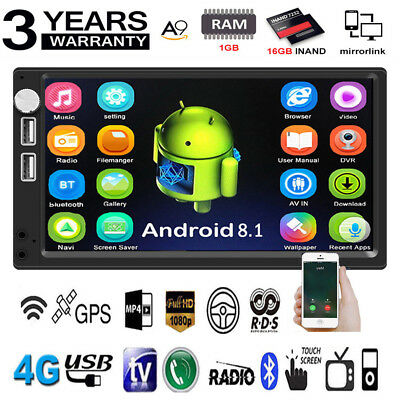 7In 2DIN Android 8.1 Car Stereo MP5 Player GPS Navi FM Radio WiFi BT Head Unit