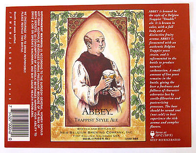 New Belgium ABBEY - TRAPPIST STYLE ALE large beer label CO 650ml Copr 1991