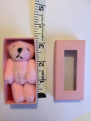 🎄🎄🎄Tiny Pink Teddy In Box Soft Toy Ideal Little Stocking Filler.
