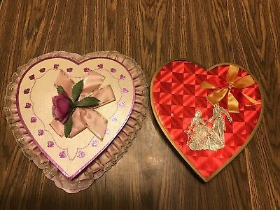 VINTAGE VALENTINE HEART CANDY BOXES, one is Miesse Candy Co, Lancaster, PA