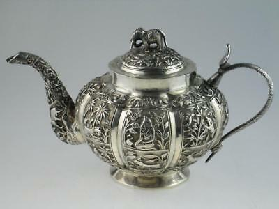 Antique Indian 19th Century Solid Silver Teapot Circa 1880