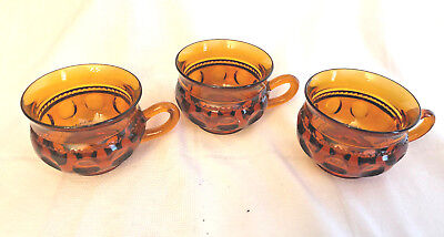 Vintage amber LOT of 3 Indiana Glass Kings Crown snack plate cups (no plates)