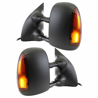 New Set of 2 LH & RH Black Amber Led Tow Mirrors for Ford F-250 Super Duty 99-07