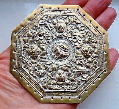 ANTIQUE CHINESE / TIBETAN QING DYNASTY c1900 EMBOSSED COPPER DRAGON DISC PLAQUE