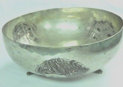 Antique European Sterling Silver Three-Footed Bowl With (3) Repousse Designs-Nr!