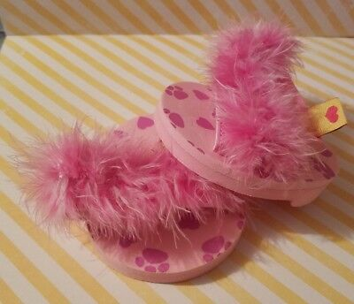 Build-A-Bear Babw Shoes Pink Fuzzy Sandals Slippers