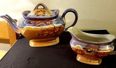 Vintage Teapot and Creamer Hand Painted Lusterware Made in Japan Flowers