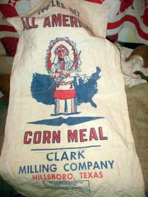 Vtg Vry Nice All American Indian Chief Corn Meal Graphic Feed Sack Unopened