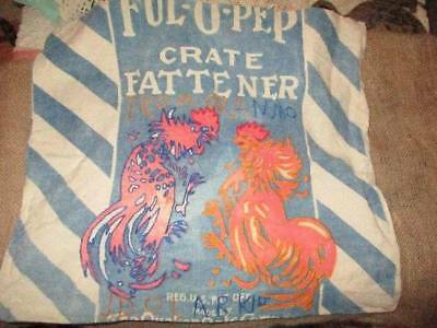 Vtg Ful-O-Pep Chicken Fattener Feed Sack Made Into Pillow Cover Farmhouse