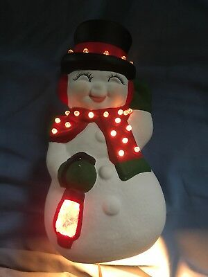 Vintage Ceramic Christmas Frosty the Snowman Mold Light Base Table Top