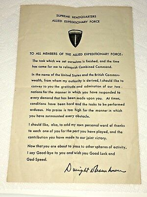 WWII U.S. Army General Eisenhower Farewell Letter to U.S. Troops, 1945
