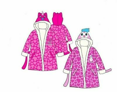 Girls Hatchimals Unicorn Dressing Gown Kids Hooded Bird Robe Pink 2-6 Years New