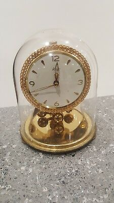 VINTAGE KUNDO ANNIVERSARY CLOCK (parts or repair) GLASS DOME