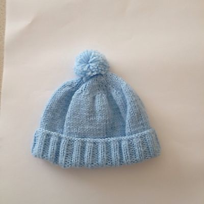 Babies Hand Knitted Hat 0-3 Months Blue