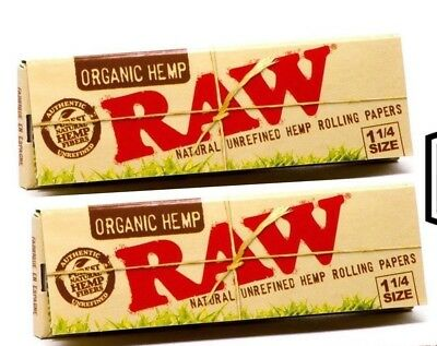 "Raw Organic Hemp Rolling Papers 1.25"" (x2 Packs!)  Free Shipping"