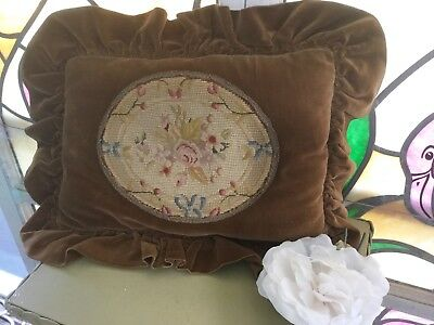 Antique vtg Victorian pillow velvet with petit point & needlepoint w French trim