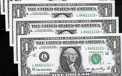 10 of 2006 US 1$ Replacement Bank Notes In Series (L04511111* - L04511120*)