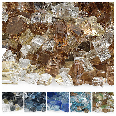 """American Fireglass Pre-Mixed Reflective Fire Glass 1/2""""10 Lbs Bags 6 Colors"""