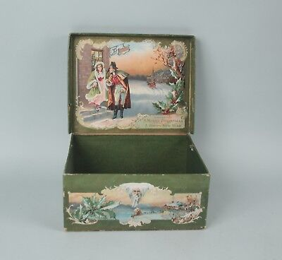 Vintage Christmas Holiday Lithographed Gift Box - Early Litho on Heavy Cardboard
