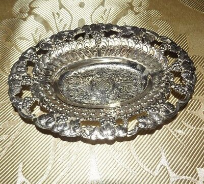 Holiday Imports Small Oval Silver Tray With Ornate Detail-SilverPlate