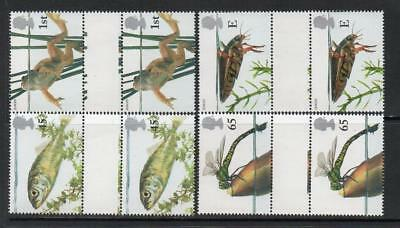 Gb Mnh 2001 Sg2220-2223 Europa - Pond Life Set Of 4 Gutter Pairs
