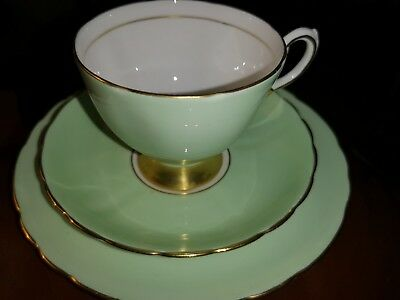 Tuscan China pale Green & Gold teacup trio Stunning